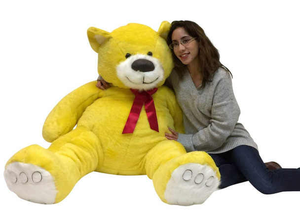 American Made 5 Foot Yellow Teddy Bear Soft Big Plush 60 Inch Large Stuffed Animal Made in USA