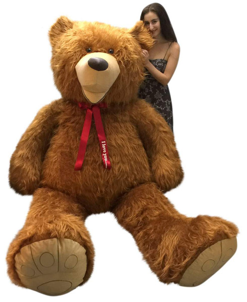 Personalized American Made 9 Foot Soft Giant Teddy Bear 108 Inches Honey Brown Long Fur Made in USA, Your Message Custom Printed on Neck-Ribbon Bow