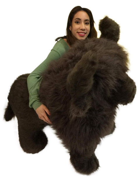 American Made Giant Stuffed Dark Brown Buffalo 44 Inch Soft Huge Big Plush Animal
