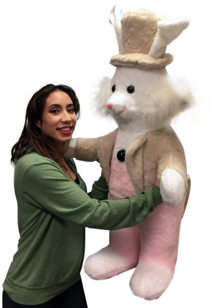 American Made Giant Stuffed Bunny Rabbit Wearing Tuxedo 4 Feet Tall Pink Pants Big Plush Rabbit