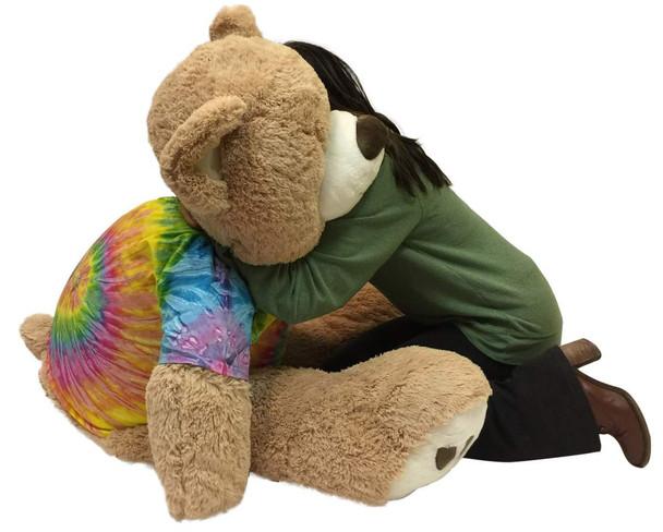 Big Plush Giant Teddy Bear 5 Feet Tall Wears Removable Tie Dye T-shirt, Soft Smiling Big Teddybear 5 Foot Bear Ultra Premium Quality
