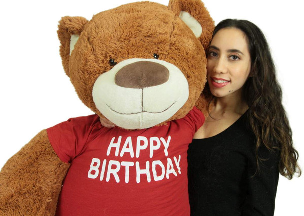 5 Foot Teddy Bear Wears Removable Happy Birthday Tshirt, Soft Cookie Dough Brown Color