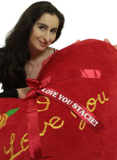 Personalized Extra Large Heart Pillow 42 Inches Soft Embroidered Rose I Love You