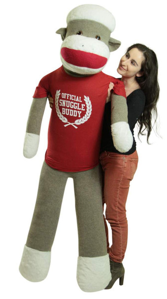 American Made Giant Plush Sock Monkey 5 Feet Tall Soft, Wears Removable Tshirt Official Snuggle Buddy