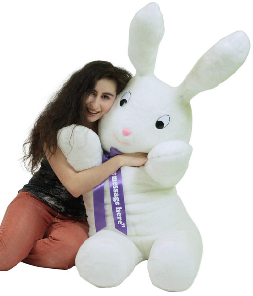 Personalized American Made Giant Stuffed Bunny 60 Inch Soft Big Plush 5 Foot Rabbit Made in USA