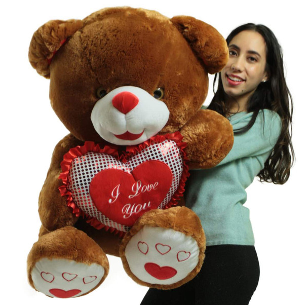Giant Soft Brown Teddy Bear 30 Inches Holding I Love You Heart Pillow