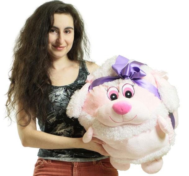 Big Plush Pink Poodle Smush Ball Soft 20 Inch Soft Stuffed Dog