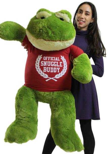 Giant Stuffed Frog 48 Inch Soft 4 Foot Big Plush Wears Official Snuggle Buddy T-shirt