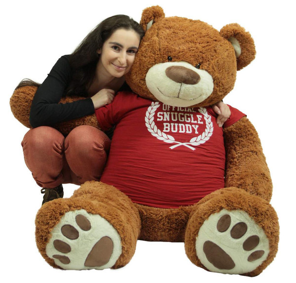 5 Foot Giant Brown Teddy Bear Soft 60 Inch, Wears Removable T-shirt Official Snuggle Buddy