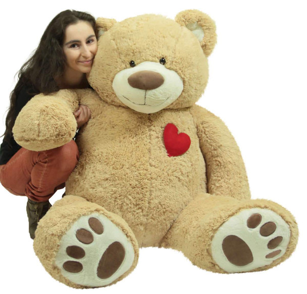 Giant 5 Foot Teddy Bear 60 Inch Soft Plush Animal, Heart on Chest to Express Love