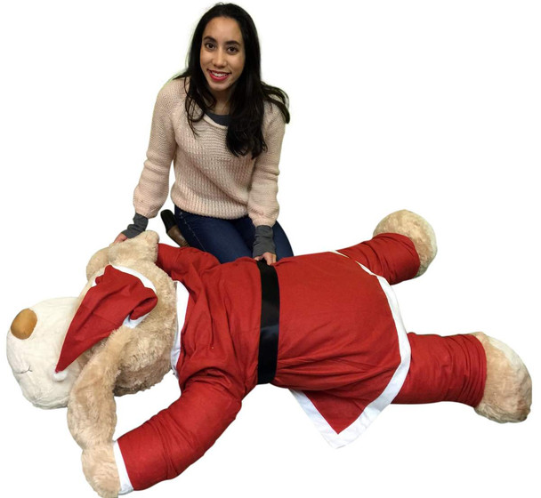 Christmas Giant Stuffed Dog Wears Removable Santa Suit, 5 Feet Long  Soft Lifesize Plush Puppy