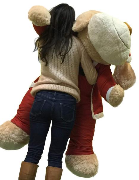 Christmas Giant Stuffed Dog Wears Removable Santa Suit, 5 Feet Long  Soft Lifesize Plush Puppy