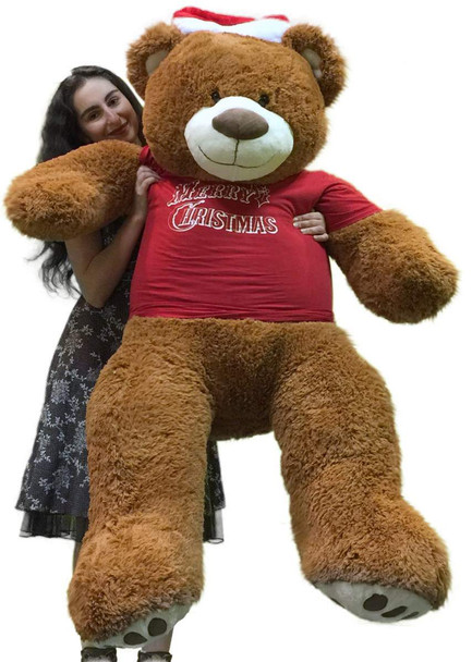 Merry Christmas 5 Foot Teddy Bear Wears Removable Red Holiday Tshirt, Soft Cookie Dough Brown Color