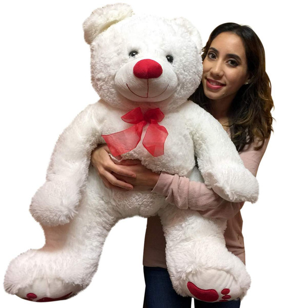 Big Plush 3 Foot Teddy Bear 36 Inches Soft White Plushie with Red Nose and Paws