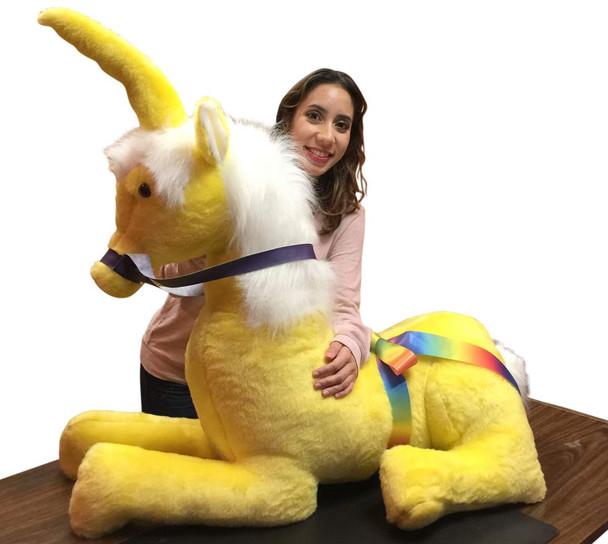 American Made Yellow Giant Stuffed Unicorn Soft 4 Feet Wide, 3 Feet Tall