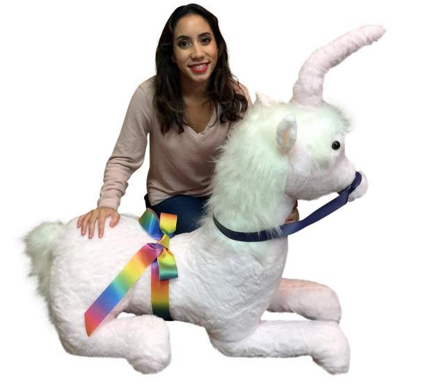American Made Pink Giant Stuffed Unicorn Soft 4 Feet Wide, 3 Feet Tall