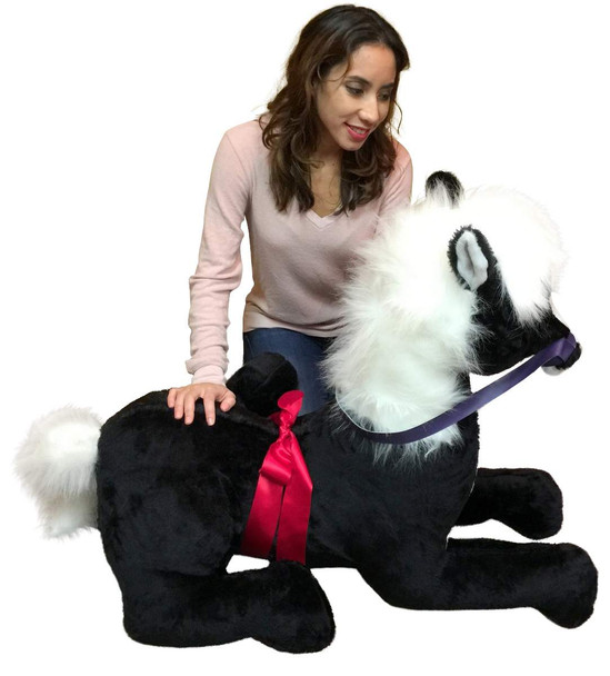American Made Giant Stuffed Pony 4 Feet Wide 3 Feet Tall, Soft Big Plush Black Horse