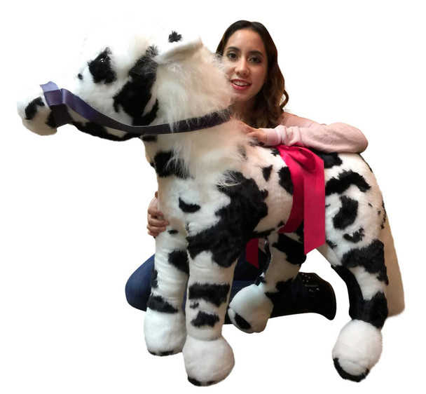 American Made Giant Stuffed Black and White Pony 36 Inch Soft Plush Horse Made in USA