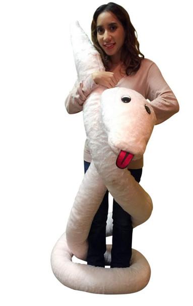American Made Giant Stuffed Snake 18 Feet Long Soft Pink Big Plush Serpent Gigantic Plushie
