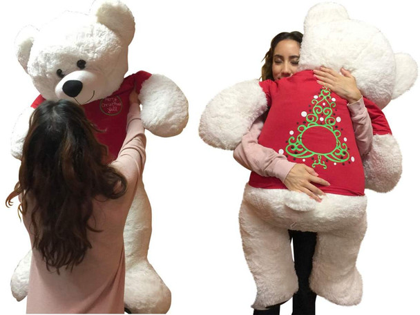 52-inch White Christmas Teddy Bear Wears 2-Sided Tshirt says Merry Christmas Yall on front and Christmas Tree on Back