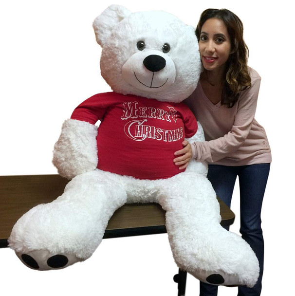 52-inch White Teddy Bear Wears Removable Red Tshirt that says Merry Christmas