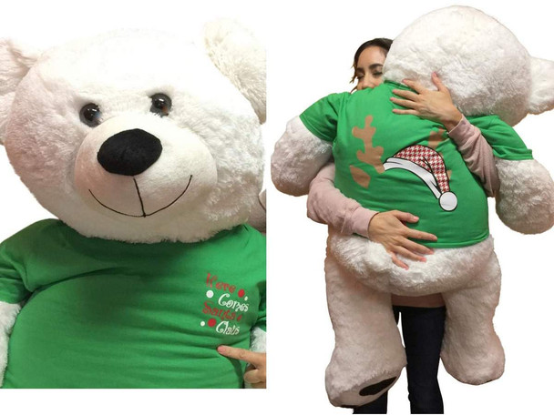 52-inch White Christmas Teddy Bear Wears 2-Sided Green Tshirt says Here Comes Santa Claus on Front and  Santa Hat and  Reindeer Antlers on Back