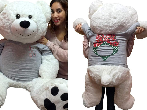 52 inch White Teddy Bear Wears 2-Sided Silver Tshirt says Deck the Halls on Front and  Has Christmas Wreath on Back