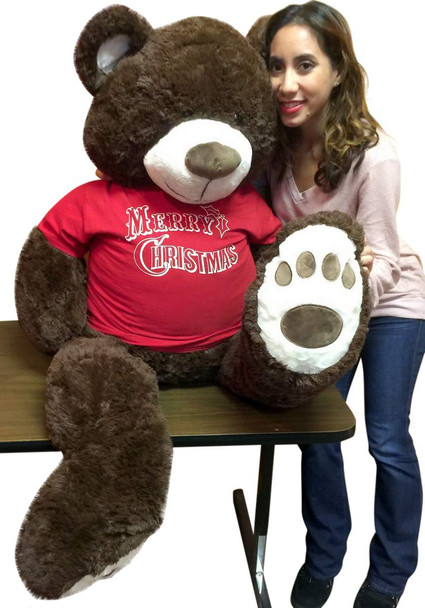 5 Foot Chocolate Brown Color Teddy Bear Wears Removable Red Tshirt that says Merry Christmas