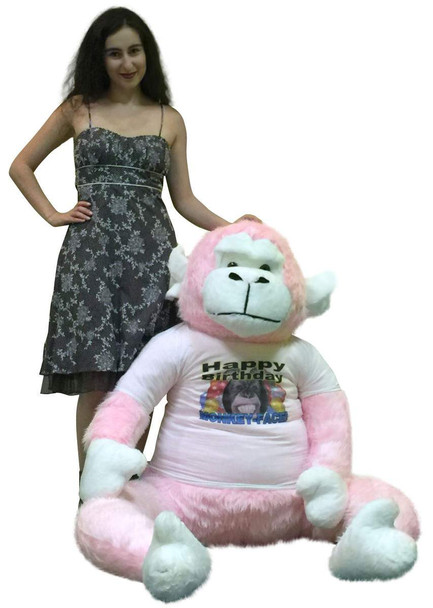 American Made 6 Foot  Giant Stuffed Pink Gorilla, Wears Removable Tshirt Happy Birthday Monkey Face