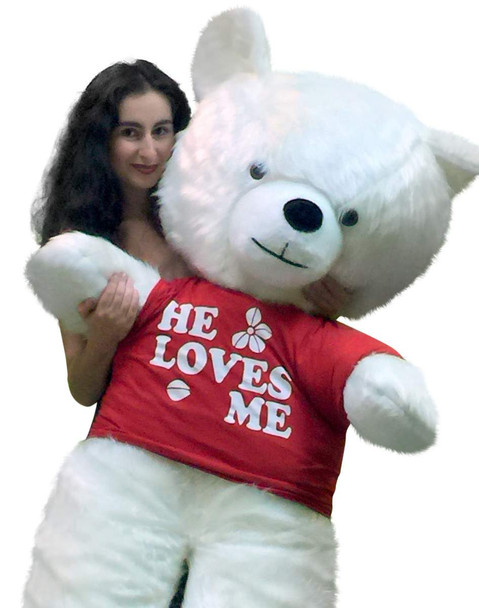 Big Plush 54 Inch Giant White Teddy Bear Soft Made in USA, Wears HE LOVES ME T-shirt