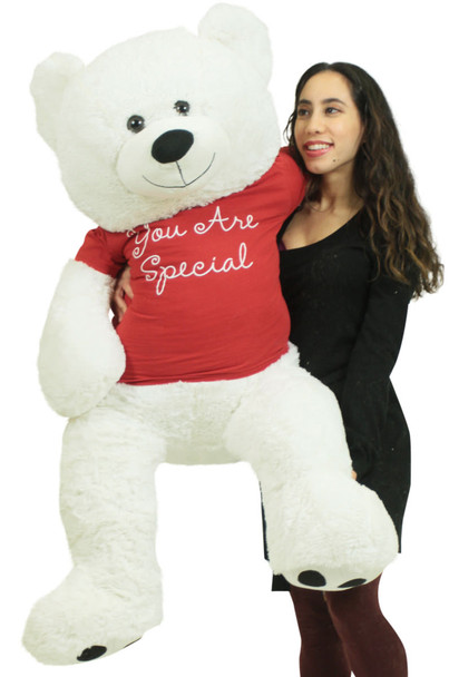 Giant White Teddy Bear 52 Inches Wears Removable Red Tshirt You Are Special