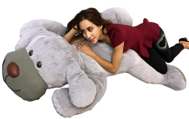 Giant Stuffed Puppy Dog 5 Feet Long Squishy Soft Extremely Large Plush Gray Color