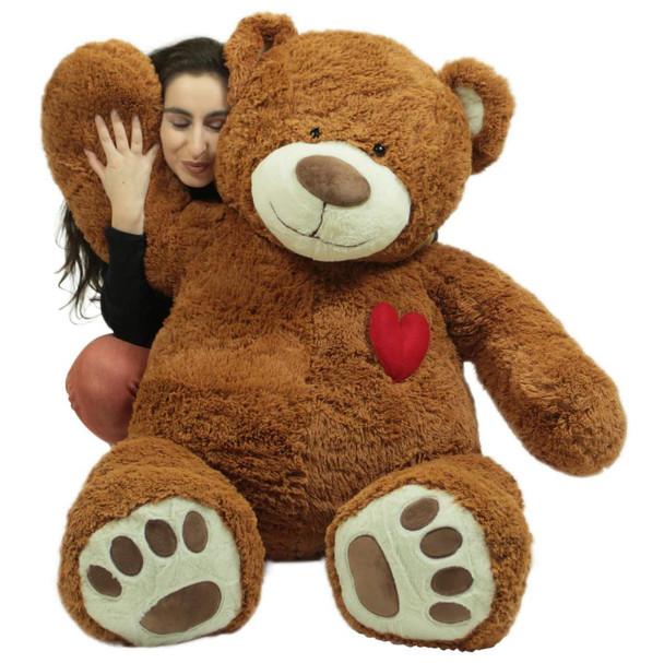 Big Plush Giant  5 Foot Teddy Bear with Heart on Chest, Honey Brown Color, Huge Plushie Gift of Love