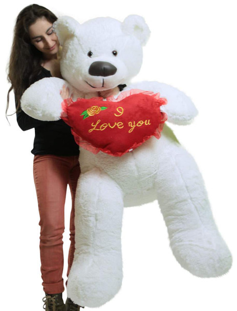 American Made Giant White 5 Foot Teddy Bear, Soft Big Plush  Holds I Love You Heart Pillow