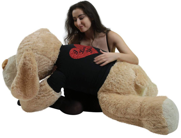Big Plush Giant Stuffed Dog 5 Foot Soft, Wears Removable Black and Red Glitter T-shirt I Love You