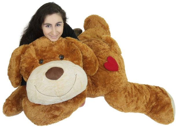 Giant Stuffed Puppy Dog with Heart on Butt, 5 Feet Long Soft Extremely Large Plush Brown Stuffed Animal
