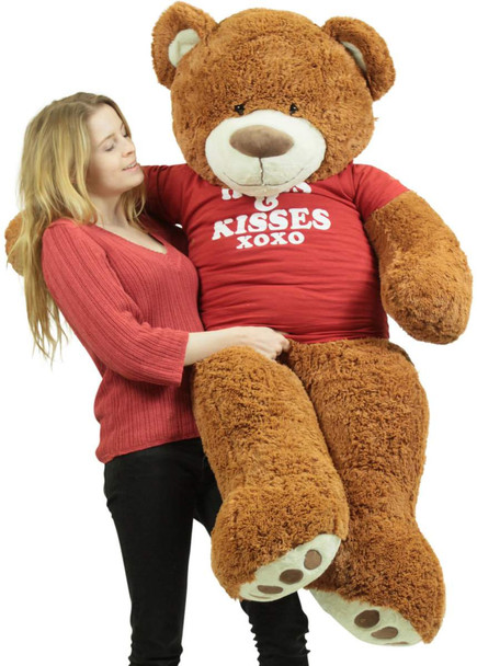 5 Foot Giant Brown Teddy Bear Wears Removable Tshirt that says Hugs and Kisses
