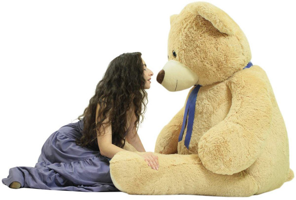 6 Foot Teddy Bear Soft Giant Stuffed Animal Beige Color, Stuffed by Hand in USA