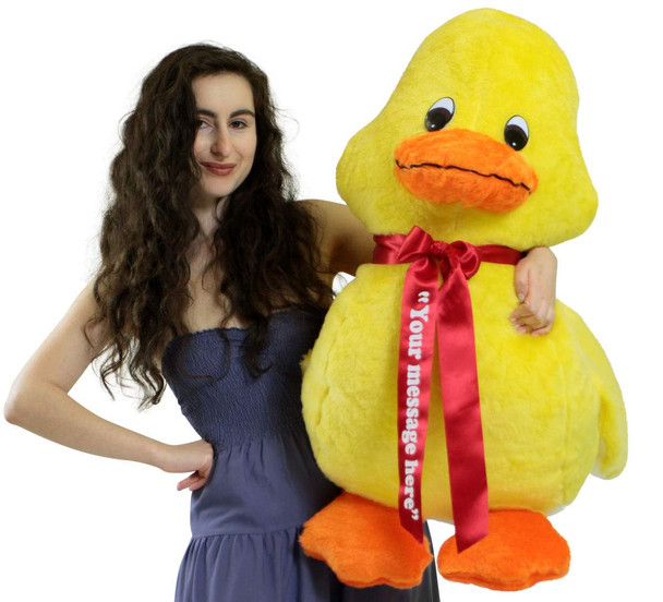 Personalized American Made Giant Stuffed Yellow Duck 36 Inches Soft 3 Foot Plush Animal