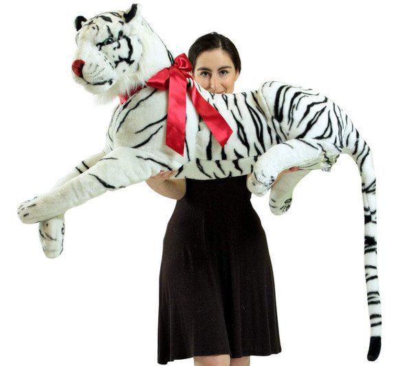Giant Realistic Stuffed Siberian White Tiger 36 Inches Long Body Plus 20 Inch Tail Oversized Plush Animal