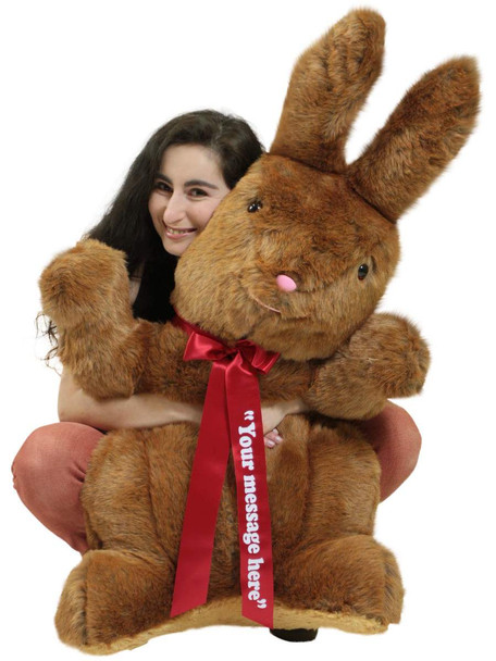 Personalized Giant Stuffed Brown Bunny 42 Inch Soft American Made Plush Rabbit Made in USA America