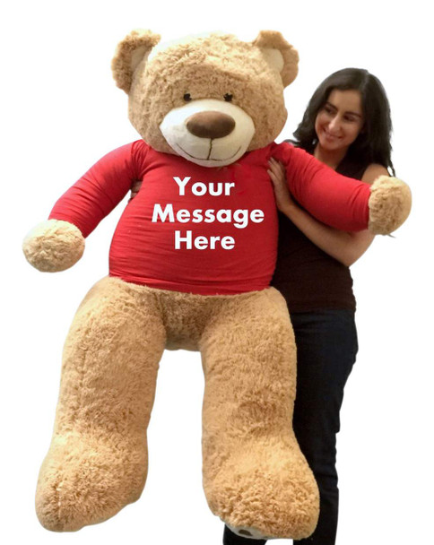 Personalized Big Plush 5 Foot Giant Teddy Bear Wearing Customized Red Color T-Shirt with Your Message