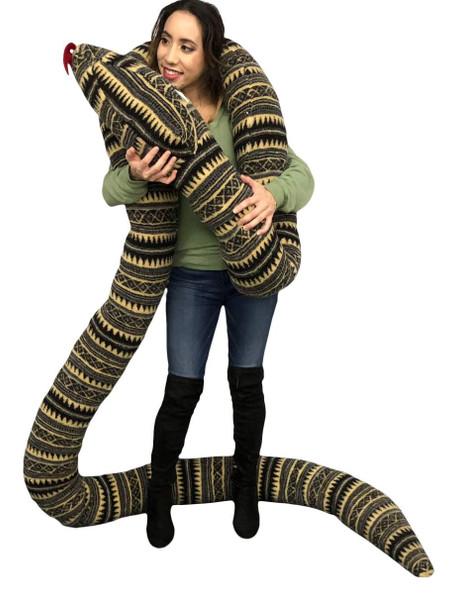 American Made 18 Foot Giant Stuffed Snake 216 Inches Long, Soft Desert Green Stripe Big Plush Serpent