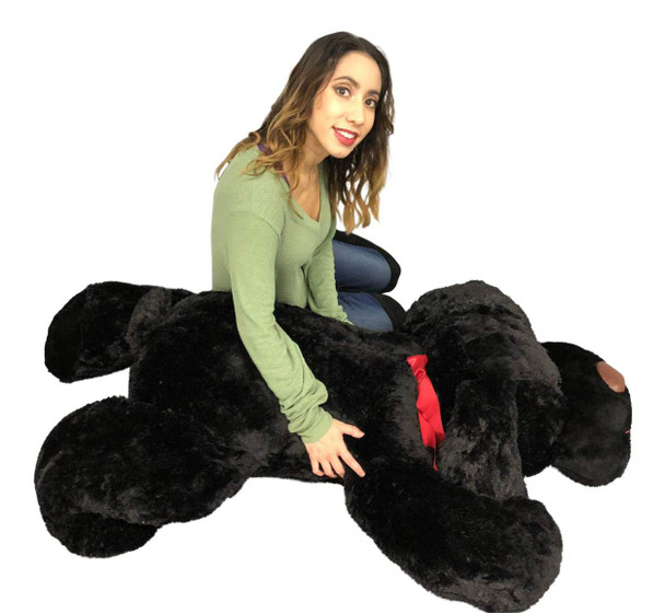 Giant Stuffed Puppy Dog 5 Feet Long Squishy Soft Extremely Large Plush Black Color