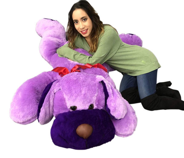 Giant Stuffed Puppy Dog 5 Feet Long Squishy Soft Extremely Large Plush Purple Color