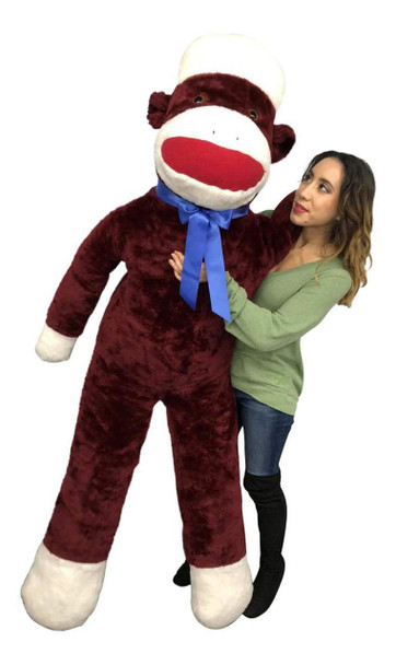 Big Plush Maroon Color 6 Foot Giant Sock Monkey Soft Huge Stuffed Animal Made in USA America