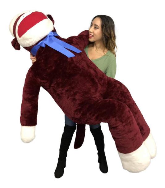 Big Plush Maroon Color 6 Foot Giant Sock Monkey Soft Huge Stuffed Animal Made in USA America