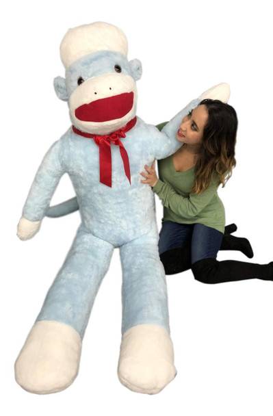 Big Plush Blue Color 6 Foot Giant Sock Monkey Soft Huge Stuffed Animal Made in USA America