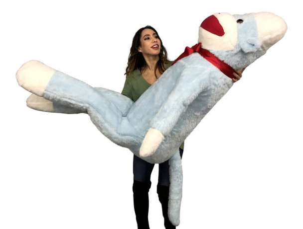 Big Plush Blue Color 6 Foot Giant Sock Monkey Soft Huge Stuffed Animal Made in USA America
