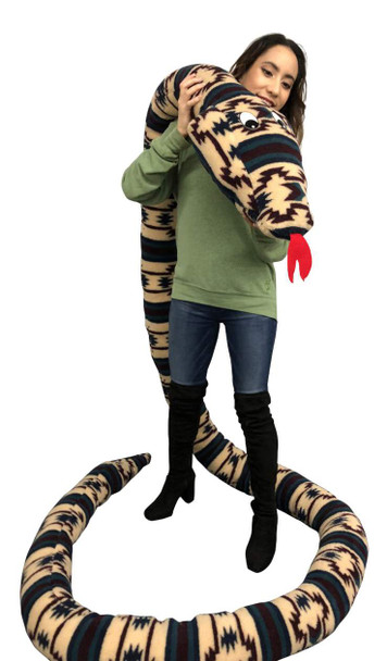 American Made 18 Foot Giant Stuffed Snake 216 Inches Long, Soft Tan Green Rectangle Pattern Big Plush Serpent